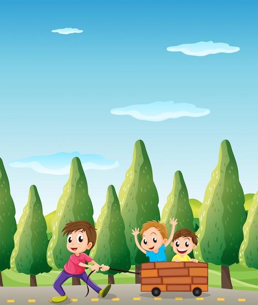 松の木が付いている道で遊ぶ子供たち 無料ベクター