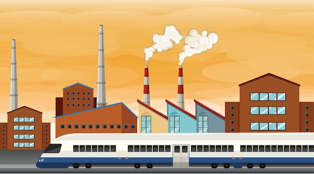 Загрязнение от фабричной тематической сцены в природе Бесплатные векторы