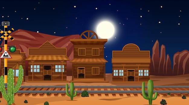 砂漠のシーンの中の町 無料ベクター
