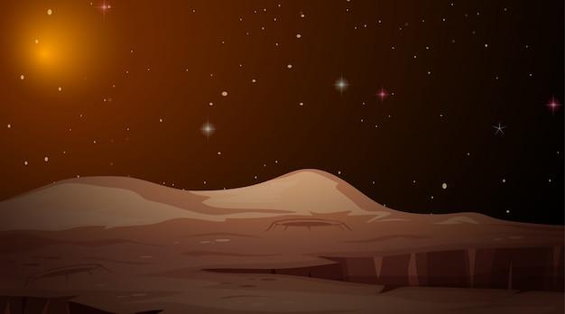 火星の風景空間のシーン 無料ベクター