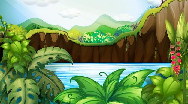 ジャングルの屋外の背景シーン 無料ベクター