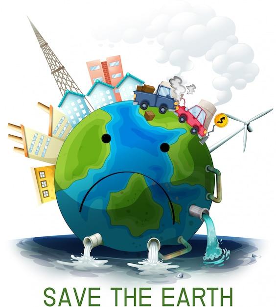悲しい、地球を救うポスター Premiumベクター