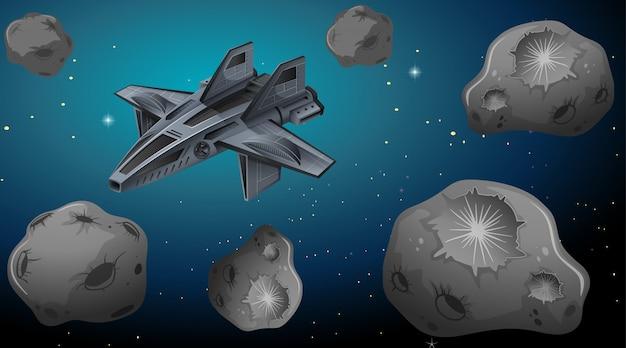 宇宙背景の宇宙船 無料ベクター