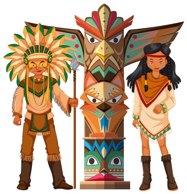 ネイティブアメリカンインディアンとトーテムポール 無料ベクター