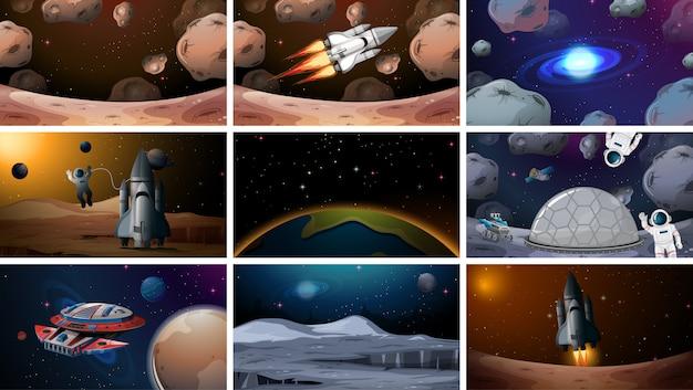 様々な宇宙シーンの背景のセット 無料ベクター