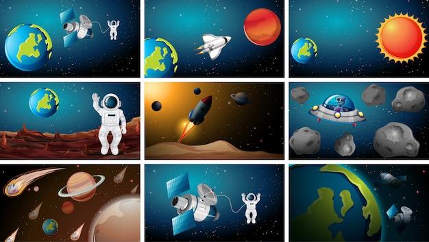 Набор различных космических сцен фона Бесплатные векторы