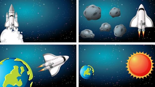 宇宙船のシーンの背景のセット 無料ベクター
