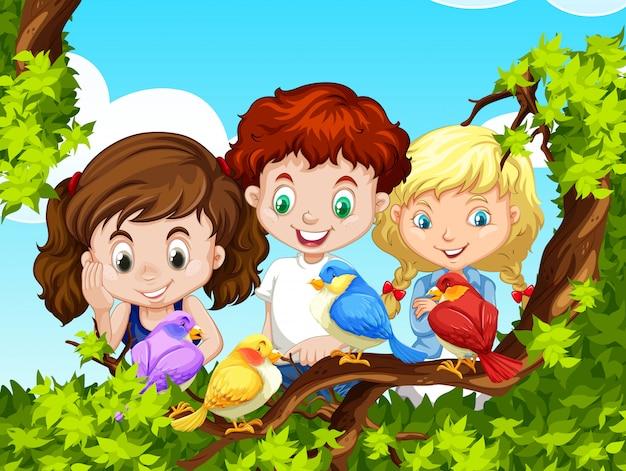 子供たちが枝に鳥を見て 無料ベクター