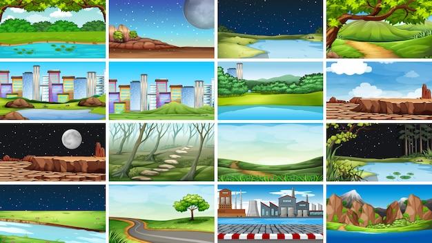 自然、都市、工場、農村のシーンや背景の巨大なセット 無料ベクター