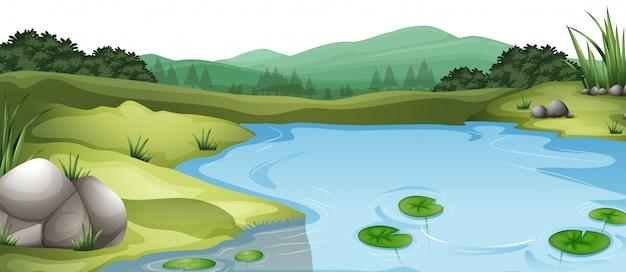 自然環境景観シーン 無料ベクター