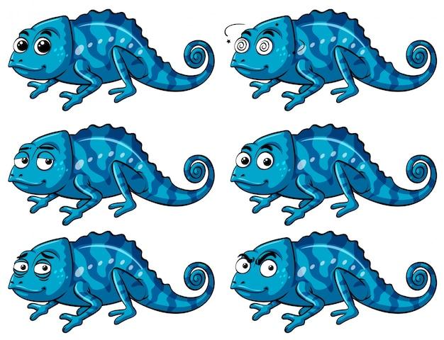 Голубая ящерица с шестью разными эмоциями Бесплатные векторы