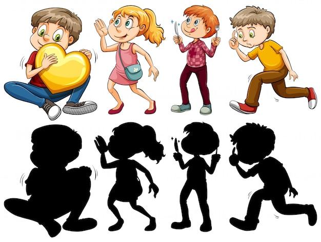 Силуэт, цветная и контурная версия детей в веселых акциях Premium векторы
