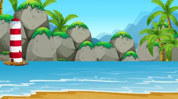 Пустая природа пляж океан прибрежный пейзаж Бесплатные векторы