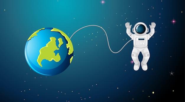 宇宙飛行士が宇宙のシーンで飛んで 無料ベクター
