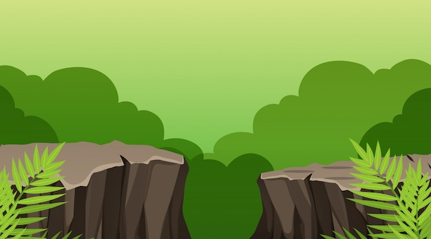 自然シーンの風景テンプレート 無料ベクター