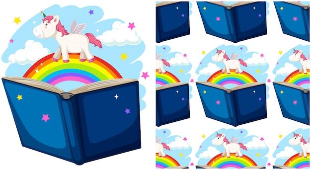 白で隔離の虹と本 無料ベクター