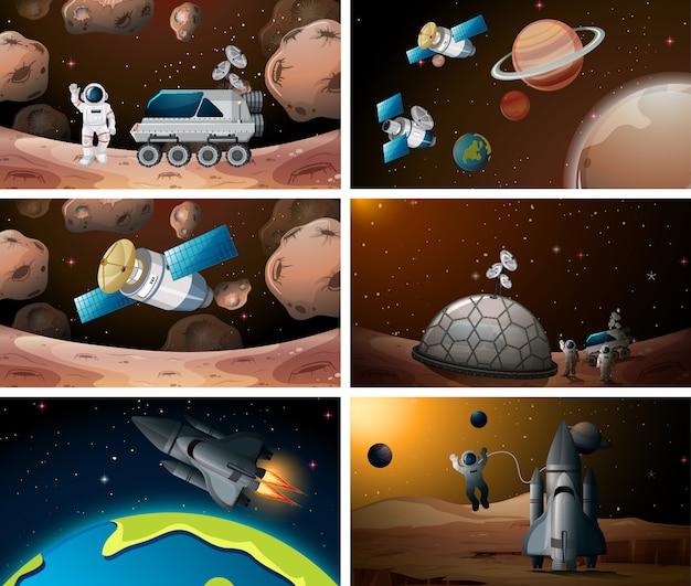 Набор космической сцены Бесплатные векторы