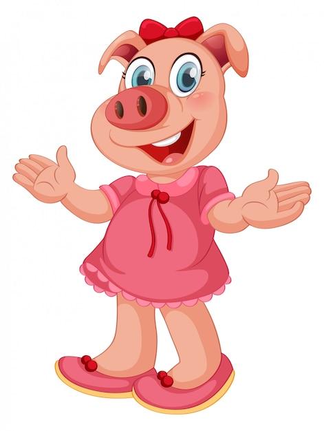 分離された人間のようなポーズでかわいい豚 Premiumベクター