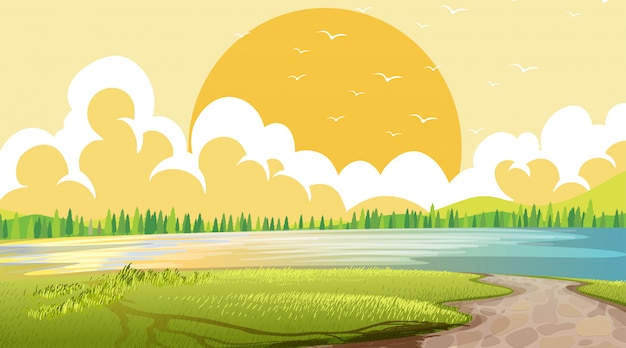 空の自然ビーチ海沿岸の風景 無料ベクター