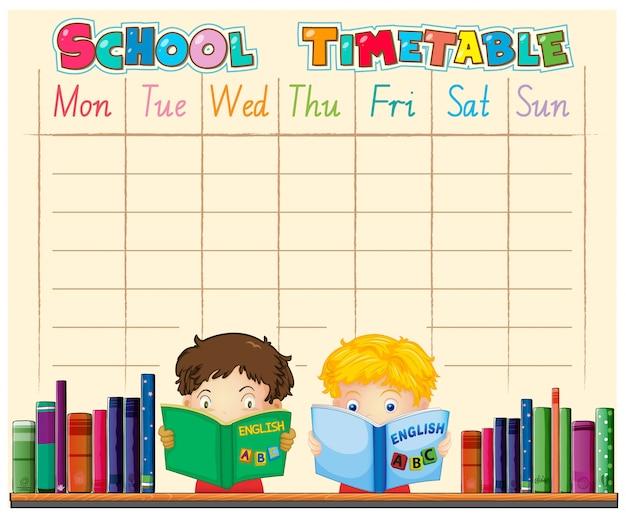 キャラクターによる時間割学校計画 無料ベクター