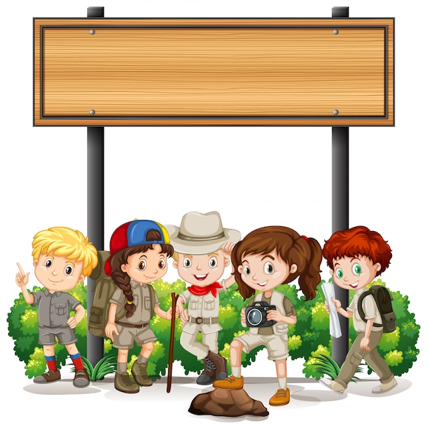 Баннер с детьми под деревянным знаком Бесплатные векторы