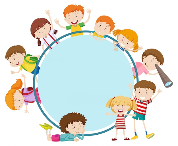 Рамка со счастливыми детьми Бесплатные векторы