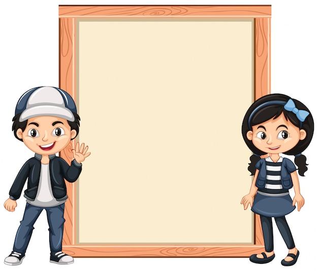Баннер с двумя детьми Бесплатные векторы