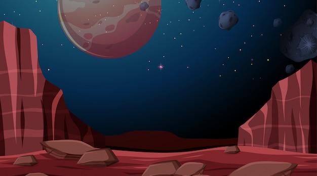宇宙惑星の背景シーン 無料ベクター