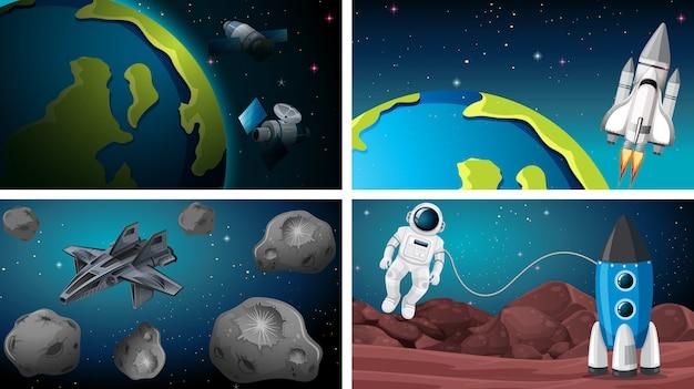 地球と岩の宇宙シーンのセット 無料ベクター