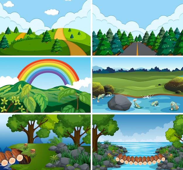 Множество природных сцен Бесплатные векторы
