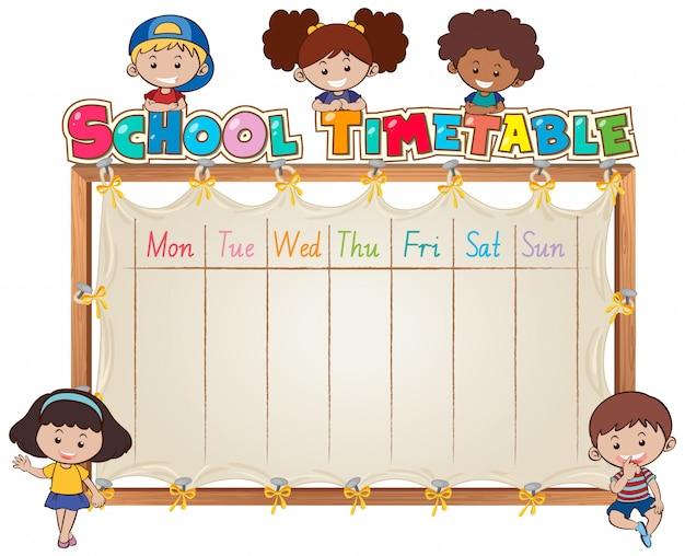 学校の時刻表テンプレート 無料ベクター