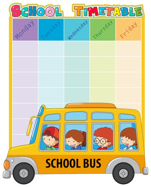 Шаблон школьного расписания Бесплатные векторы