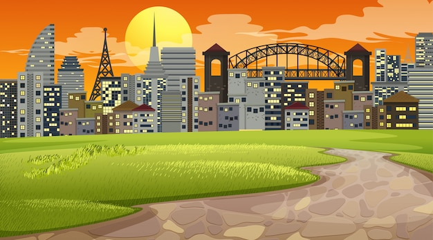 都市公園の夕日のシーンや背景 無料ベクター