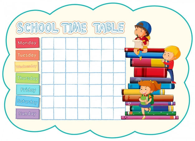 学校の時刻表テンプレート Premiumベクター