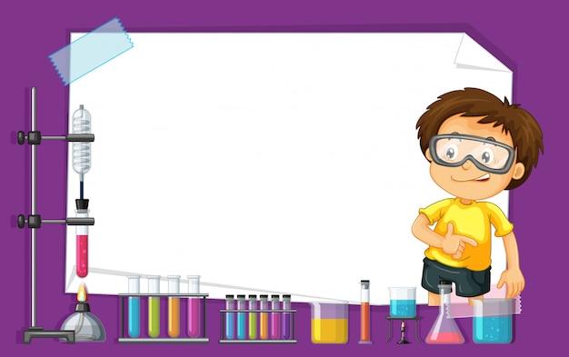 科学実験室で子供を持つフレームテンプレートデザイン 無料ベクター