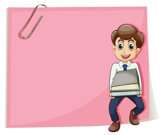 いくつかのドキュメントを運ぶビジネスマンとピンクの空の紙 無料ベクター