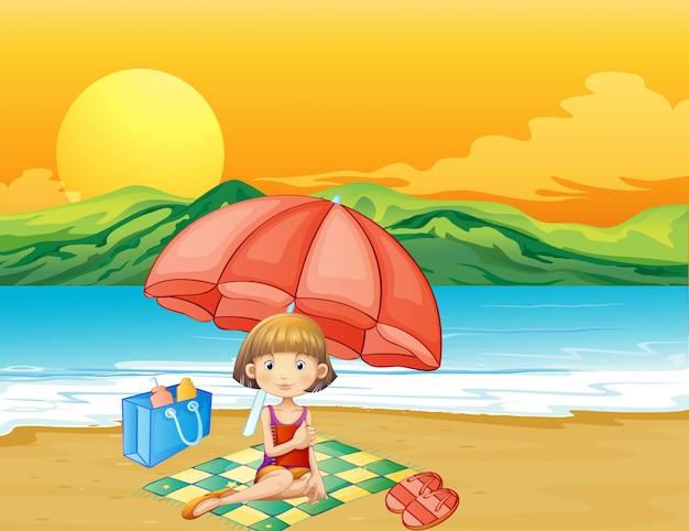 ビーチで本を持つ少女 無料ベクター