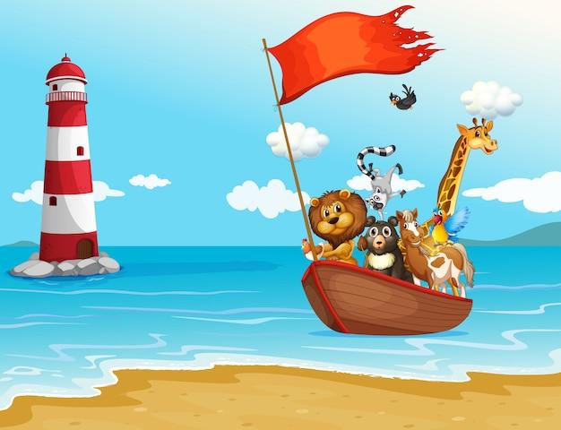 Животные и лодка Бесплатные векторы