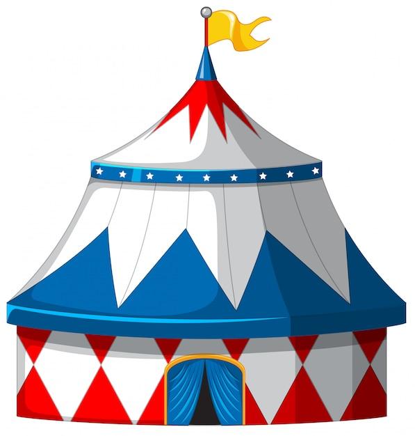 青と白のサーカステント 無料ベクター