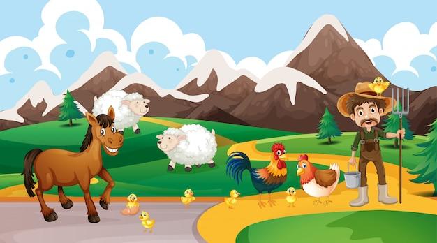 Сельскохозяйственные животные и фермерские сцены Бесплатные векторы