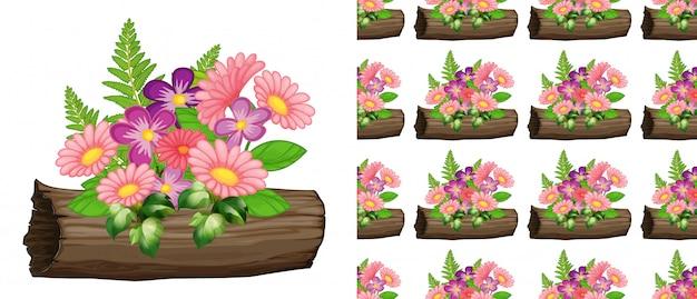 ピンクのガーベラの花とのシームレスな背景デザイン 無料ベクター