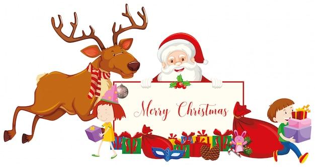 サンタとトナカイとメリークリスマスサイン 無料ベクター