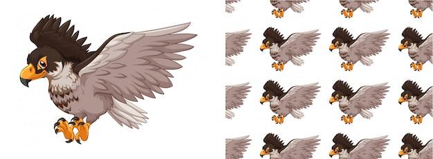 シームレスで分離された動物パターン漫画 無料ベクター
