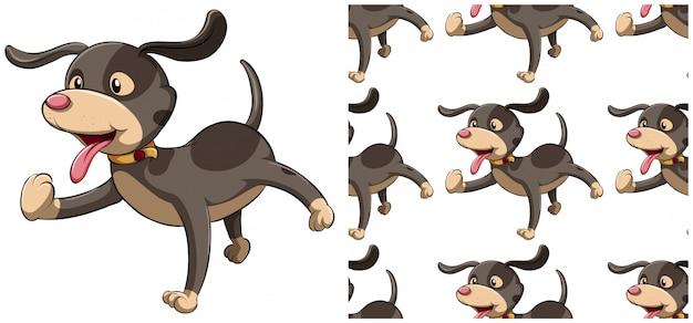 犬白で隔離のシームレスパターン 無料ベクター