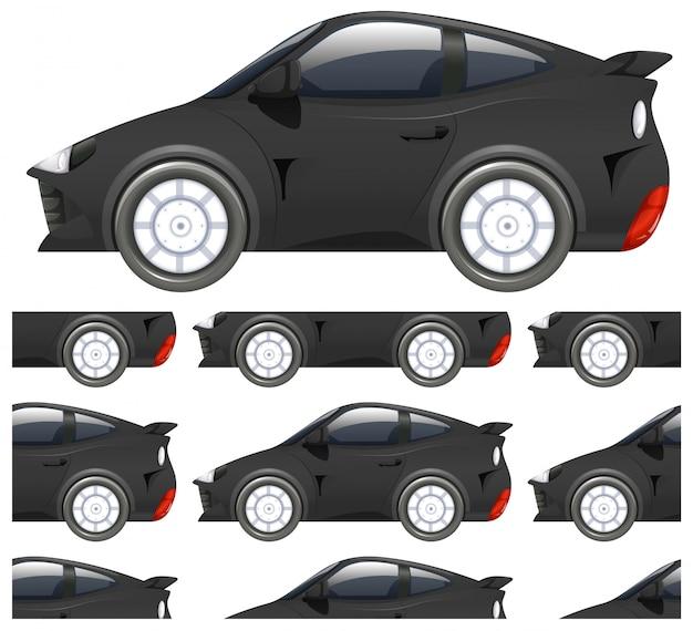 白で隔離される黒い車のシームレスなパターン 無料ベクター