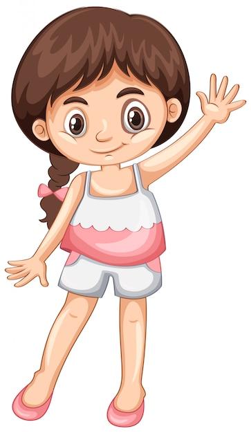 Маленькая девочка машет рукой привет Бесплатные векторы