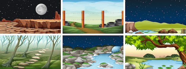 自然環境の風景シーン 無料ベクター