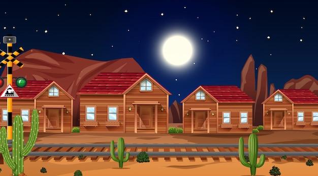 自然の中の西部砂漠をテーマにしたシーン 無料ベクター