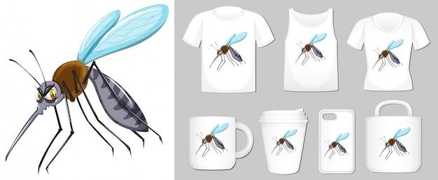 さまざまな製品テンプレート上の蚊の図 無料ベクター