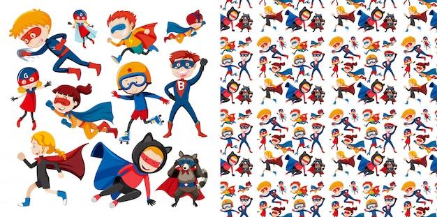 Бесшовная конструкция с супергероем Бесплатные векторы